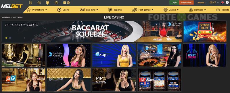 melbet live casino games
